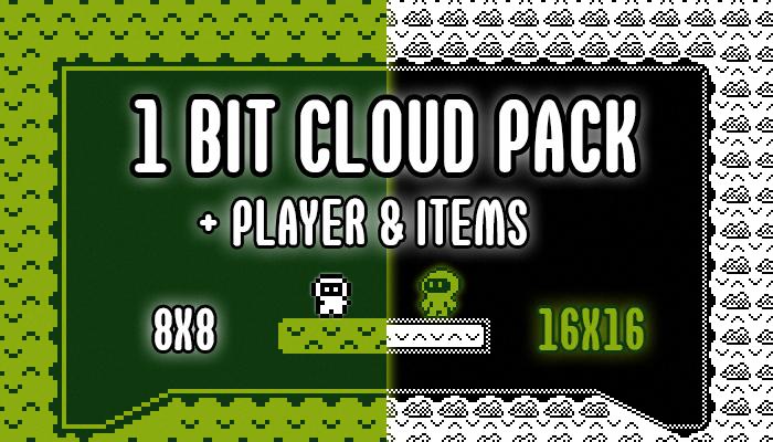 Platform Cloud Tileset Pack 1Bit (16×16 & 8×8) + Bonus Characters & Items