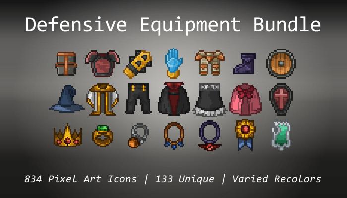 Pixel Art Icons – Defensive Equipment Bundle – 24×24
