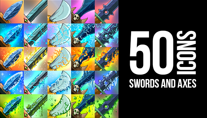 50 Pixel Art Swords and Axes Icons