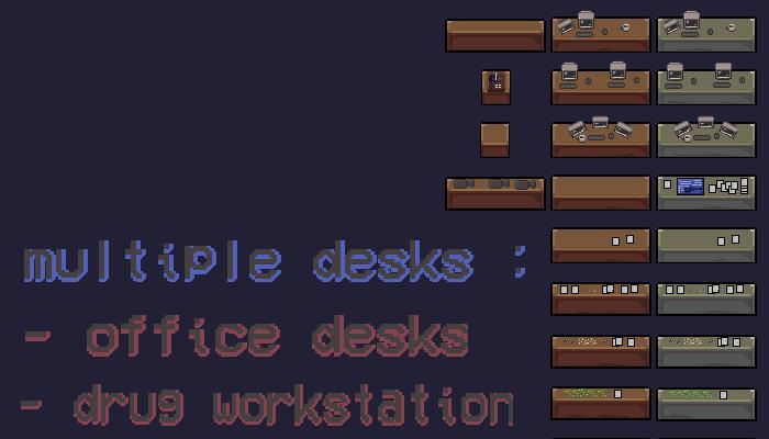 2D Pixel art desks (variations)