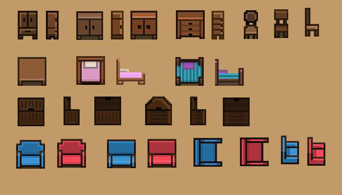 Pixel art furniture sprite collection