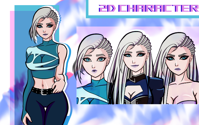 Cyberpunk Police girl – visual novel sprite
