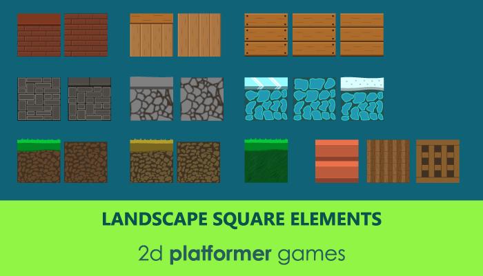 Landscape square elements for 2d background design
