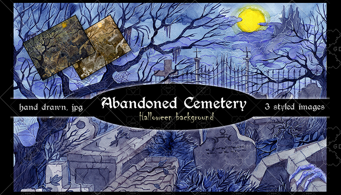 Abandoned cemetery. Halloween background