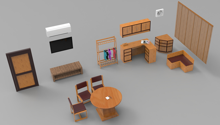 Office interior low poly 3d model props