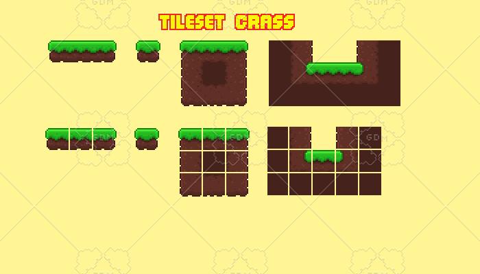 platform grass tileset 2d
