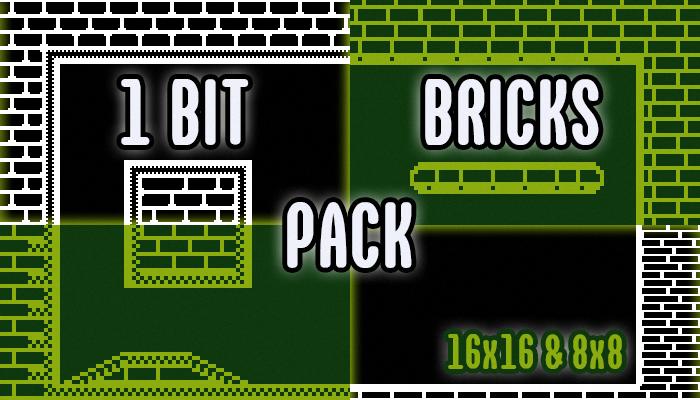 Platform Brick Tileset Pack 1Bit (16×16 & 8×8)