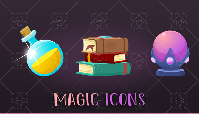 2D Game magic icons