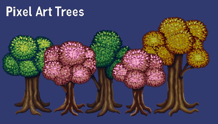 Pixel Art Tree Set