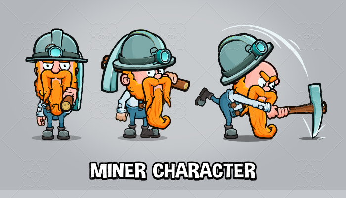 Animated miner game character