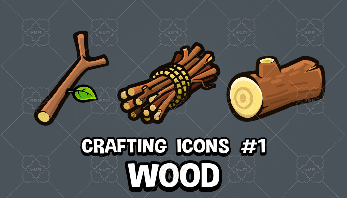 Wood crafting and survival game icons