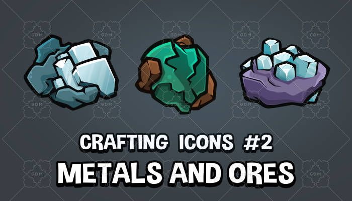 Metal and ores crafting and survival game icons
