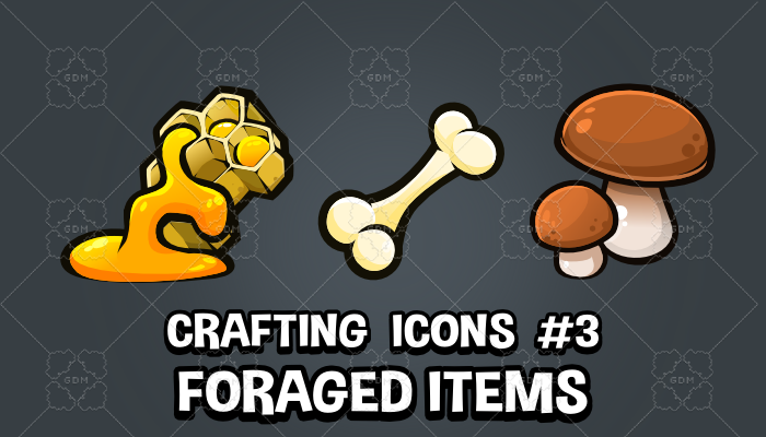 Foraged items crafting and survival game icons