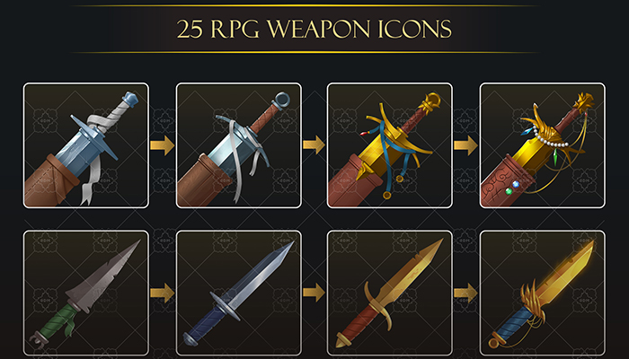 25 RPG weapon icons pack