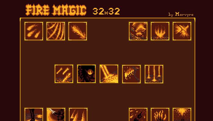 Unique Fantasy Fire Magic Icons [32×32]