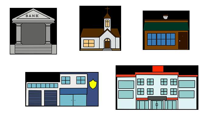 Five Buildings Assets 2D
