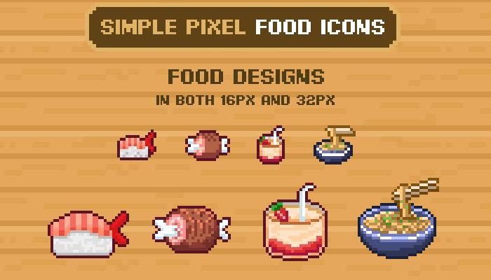 Simple Pixel Food Icons