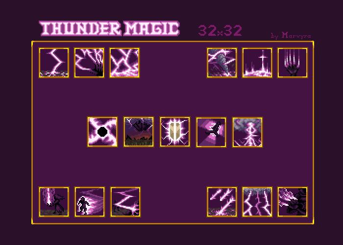 Unique Fantasy Thunder Magic Icons [32×32]
