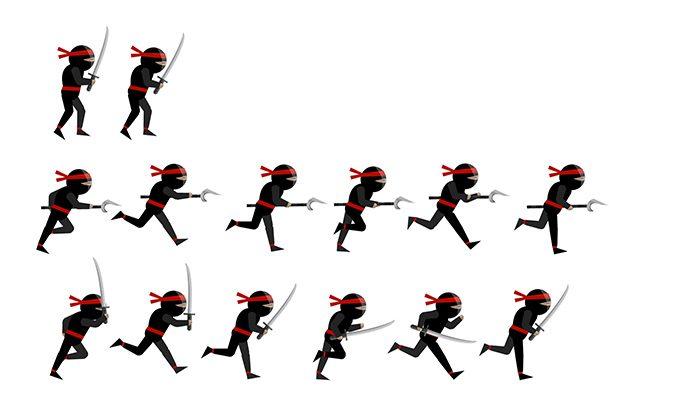 Ninja Character 2D Vector Sprites