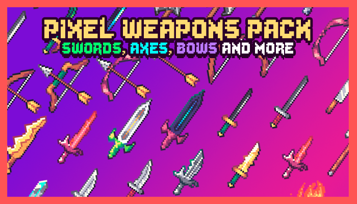 Pixel Weapons Icon Pack 32×32: Swords, Axes, Bows and More