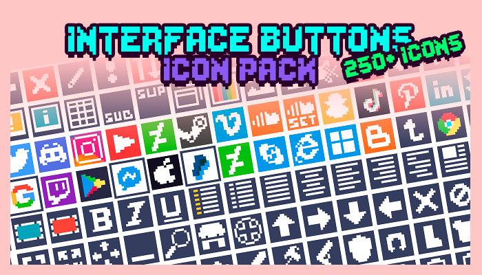 Interface Buttons Icon Pack (250+ Icons)