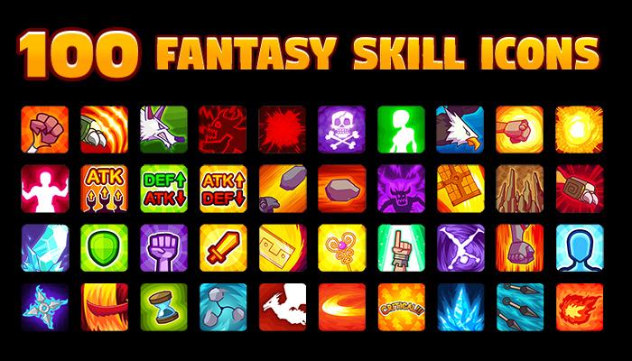 100 Fantasy Skill Icons