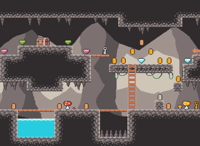 Platformer dungeon/cave tileset