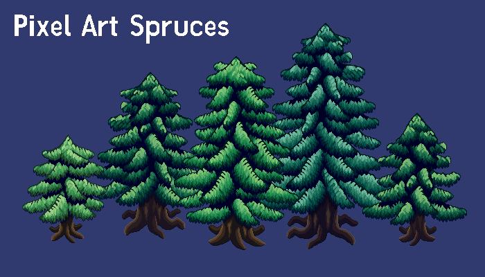 Pixel Art Spruce Set