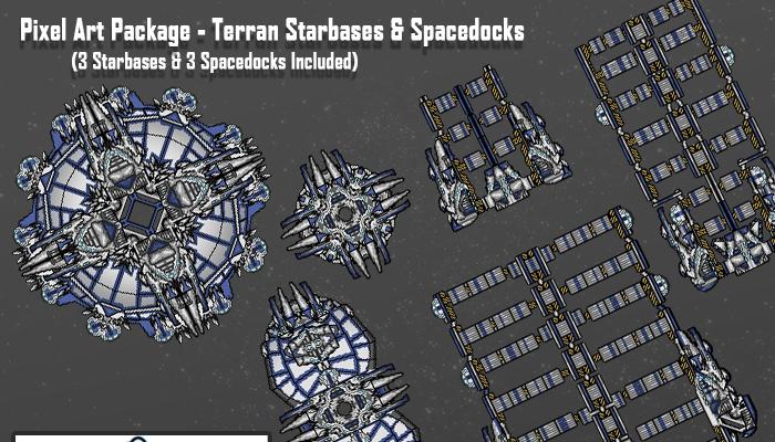 Pixel Art Starships – Terran Starbases And Spacedocks