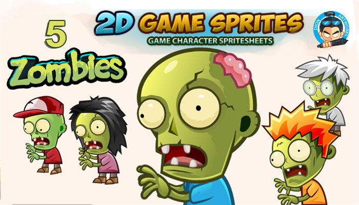 5 zombies game sprites