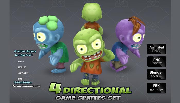 4 Directional zombie sprites set