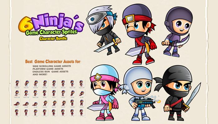 6 Ninja Character Sprites set