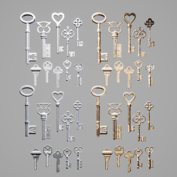 old Mansion Keys ( Unreal Engine ready use )
