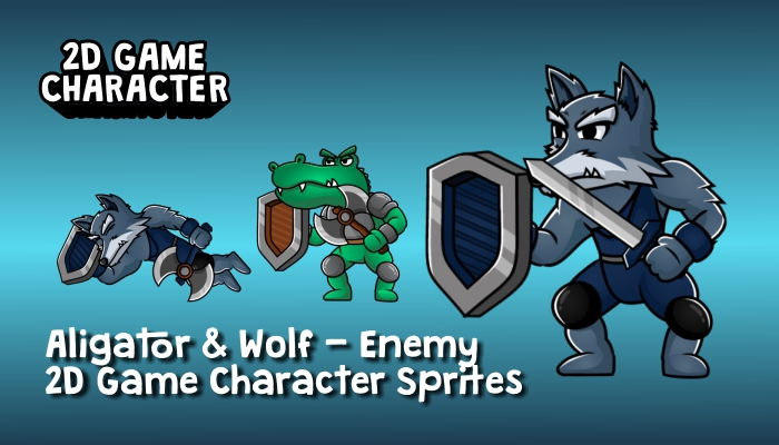 Aligator & Wolf Enemy – 2D Game Character Sprites